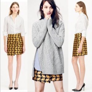 J.Crew Size 6 Black Gold Elephant Mini Skirt